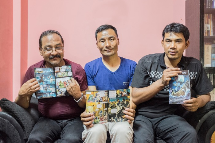 "Bimal Shahi, Prakash Pradhan and Shakti Pakhrin of the Charikot group spent together 9 days in jail accused of illegal conversation because of the distribution of a small pamphlet ""The Great story"" with the story of Jesus explained for children"