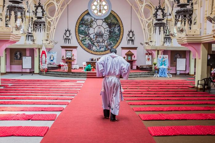 Prayers inside the Catholic Church of the Ascension, Kathmandu,
