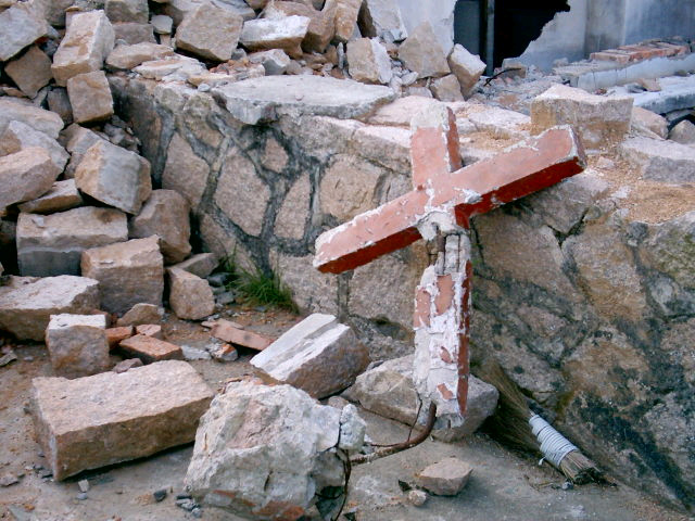 Bulldozed House (church) of Sha Ao-4 with broken cross
